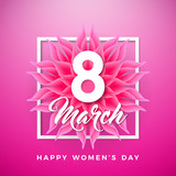 Happy Womens Day Floral Greeting Card Design. International Female Holiday Illustration with Abstravt Flower and Typography Letter on Pink Background. Vector International 8 March Template.