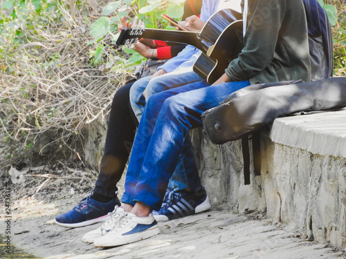 Friends playing guitar - 247363816