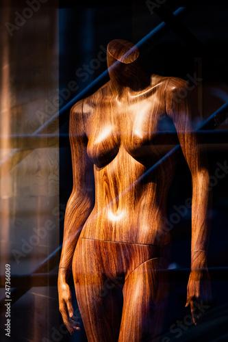 Mannequin bois dénudé dans une vitrine - 247366069
