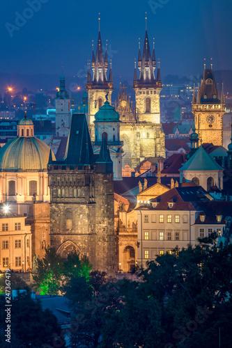 Night Aerial view of Prague landmarks, Czech