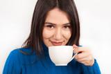 beautiful young woman drink coffee