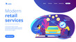 Business people paying in vehicle equiped with in-car payment system. In vehicle payments, in-car payment technology, modern retail services concept. Website vibrant violet landing web page template.