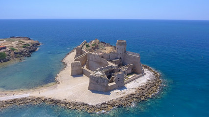 Aragonese Fortress in Calabria, Italy. Aerial view on a beautiful sunny morning
