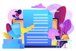 Specialists work with laptop digital data, tiny people. Digital transformation, digital solution development, paperless workflow solutions concept. Bright vibrant violet vector isolated illustration