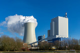 power plant cooling towers steam - coal or gas, fossil fuels  - 247375269