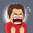 Illustration of shocked angry man with mouth open and clenched fists