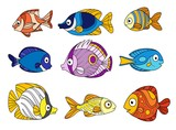 Cartoon sea fishes set color and outlined for coloring page on a white background - 247389640