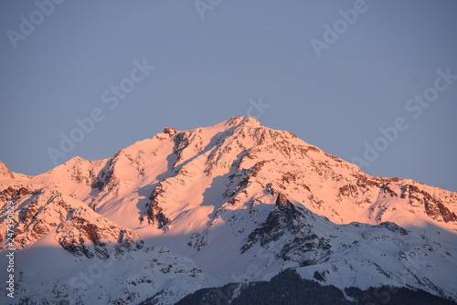 cime alba tramonto neve