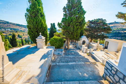 Greek Orthodox Graveyard Ancient Grave On The Cemetery In Lefkes