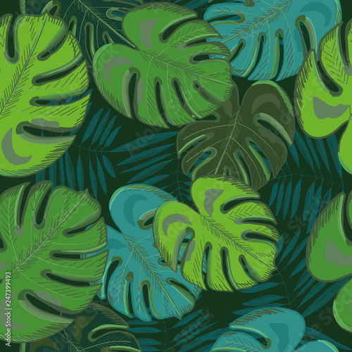 Tropical palm and monstera leaves. Jungle green leaf. Seamless tropic summer pattern © Gulsen Gunel