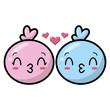 kawaii faces love kisses cartoon