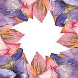 Pink and purple lotus foral botanical flower. Watercolor background illustration set. Frame border ornament square.