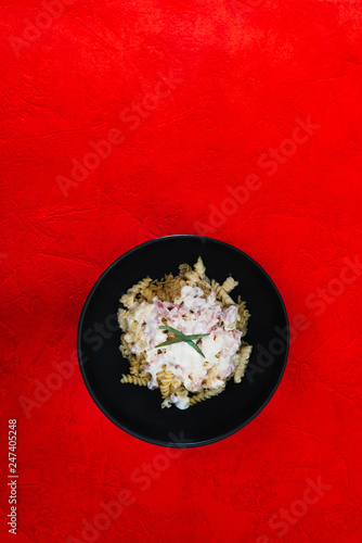 tasty Carbonara pasta on the table - 247405248