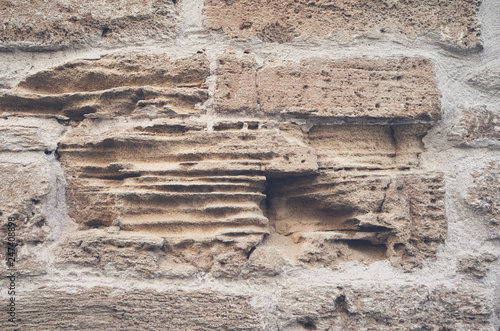 Old stone brick wall texture or background - 247408898