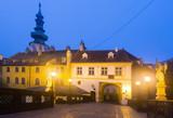 Centre of Bratislava with Michael's Gate illuminated at dusk