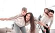 Leinwandbild Motiv happy parents with their children have fun