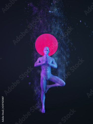 Abstract colorful plastic human body with scattering particles over black background. Yoga Tree pose — Vrksasana. 3D rendering illustration © Space-kraft