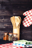 Colorful napkins with seasonings and wooden cutlery - 247421245