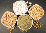 Vegetable protein, legume seeds. Conception of healthy eating. - 247423209