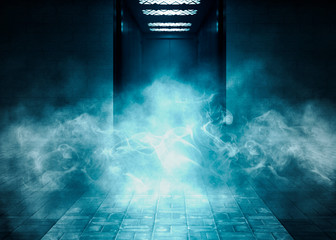Background of empty room with brick walls and concrete concrete tiles. Open elevator doors. Blue neon light, spotlight, laser shapes, smoke