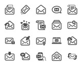 Mail message icons. Newsletter, Email document, Correspondence icons. Received mail, Secure message and Web letter. Post office newsletter, Send email document, private communication. Vector - 247434472