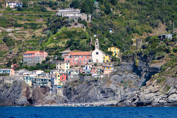 Town Vernazza on Cinque Terre at Ligurian sea in Italy