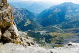 Amazing landscape of green valley in Swiss Alps