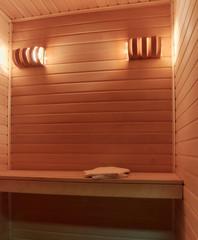 picture of sauna inside. close up. copy space.