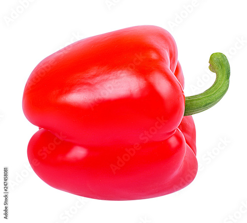Fresh sweet  red pepper bell isolated on white background with clipping path - 247458081