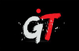alphabet letter combination GT G T with grunge texture on black background logo