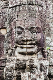 Giant faces of Bayon at Siem Reap Park in Cambodia