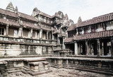 Inner courtyard of a temple in Siem Reap Park Cambodia