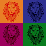 Lion head vector animal illustration for t-shirt. Sketch seamless tattoo design. - 247471609