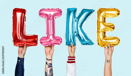 Leinwandbild Motiv Colorful alphabet helium balloons forming the text like