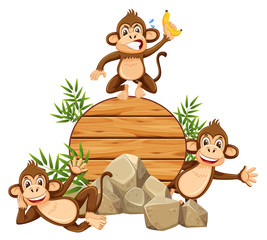Monkey on wooden template © brgfx