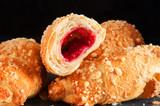 Croissant with raspberry jam