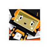 Adorably Cute Little Cartoon Block Honey Bee in Square