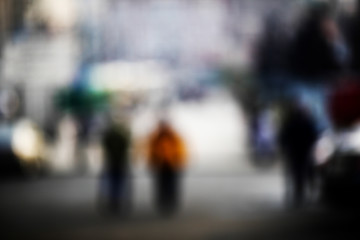 Abstraction. Blurred photos of the city, people, buildings.