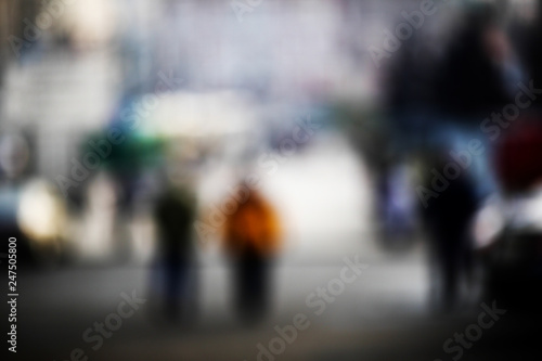 Abstraction. Blurred photos of the city, people, buildings. - 247505800