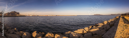 panorama view before sunset at the sea - 247515250