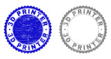 3D PRINTER stamp seals with grunge texture in blue and gray colors isolated on white background. Vector rubber imprint of 3D PRINTER label inside round rosette. Stamp seals with dust textures. - 247516211