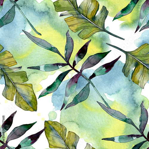 Green leaf. Exotic tropical hawaiian summer. Watercolor background illustration set. Seamless background pattern. - 247517668