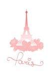 Vector illustration of Eiffel Tower and roses. T-shirt print design