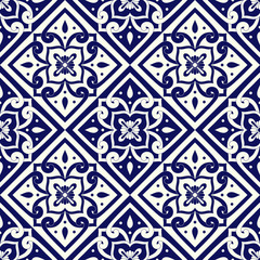 Mexican tile pattern vector seamless with vintage ornaments. Portuguese azulejos, mexico talavera, italian sicily majolica or delft dutch motifs. Mosaic background for wallpaper or ceramic floor.