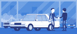 Dealer in car showroom displays vehicle for sale. Male automobile seller, customer makes an agreement in sales agency, man buying new auto, business in shop. Vector illustration, faceless characters - 247524041