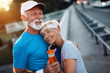 Leinwanddruck Bild - Fitness, sport, people, exercising and lifestyle concept - senior couple running