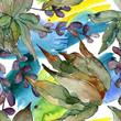 Jungle botanical succulent. Watercolor background illustration set. Seamless background pattern.