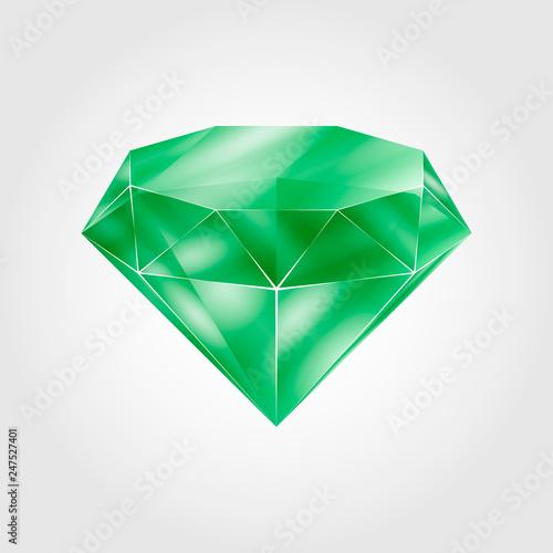 Realistic green round gem - emerald © Roman