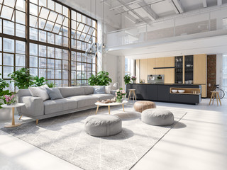 3D-Illustration of a new modern city loft apartment.