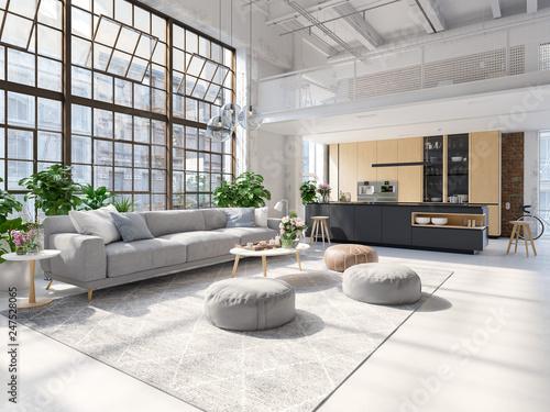 Leinwandbild Motiv 3D-Illustration of a new modern city loft apartment.